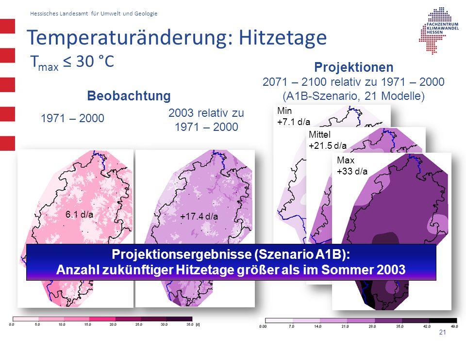 Hessisches Landesamt für Umwelt und Geologie 21 T max ≤ 30 °C Beobachtung 1971 – 2000 6.1 d/a +17.4 d/a 2003 relativ zu 1971 – 2000 Projektionen 2071