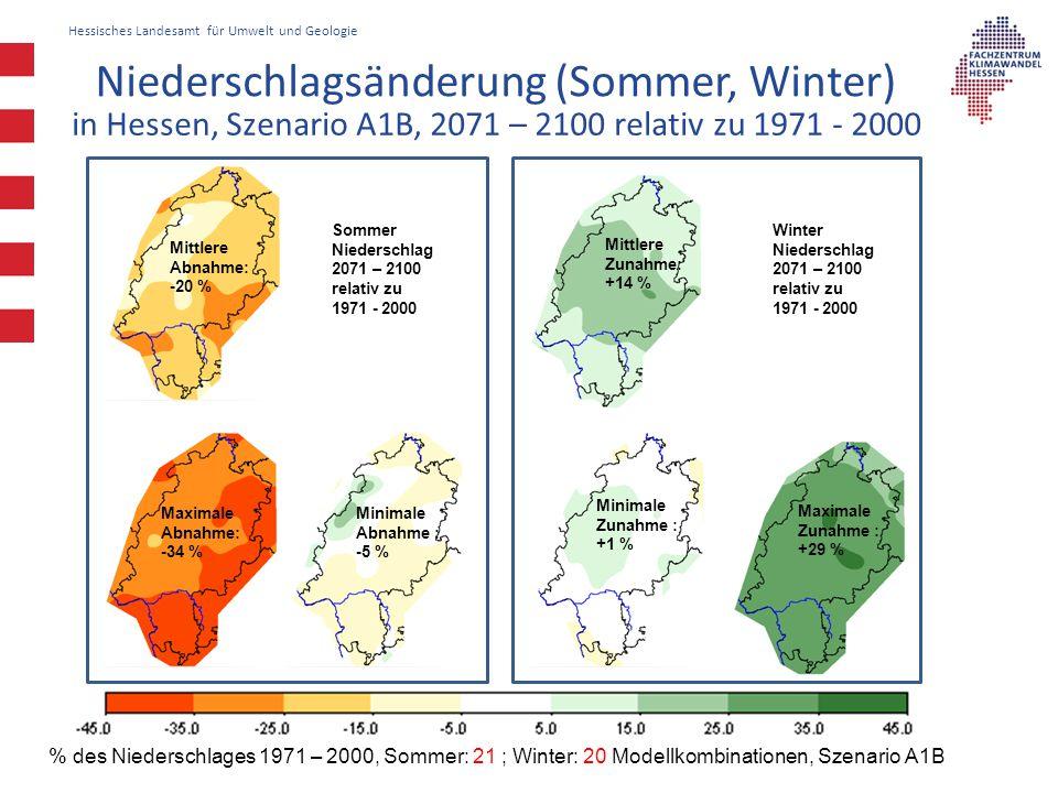 Hessisches Landesamt für Umwelt und Geologie Sommer Niederschlag 2071 – 2100 relativ zu 1971 - 2000 Winter Niederschlag 2071 – 2100 relativ zu 1971 -