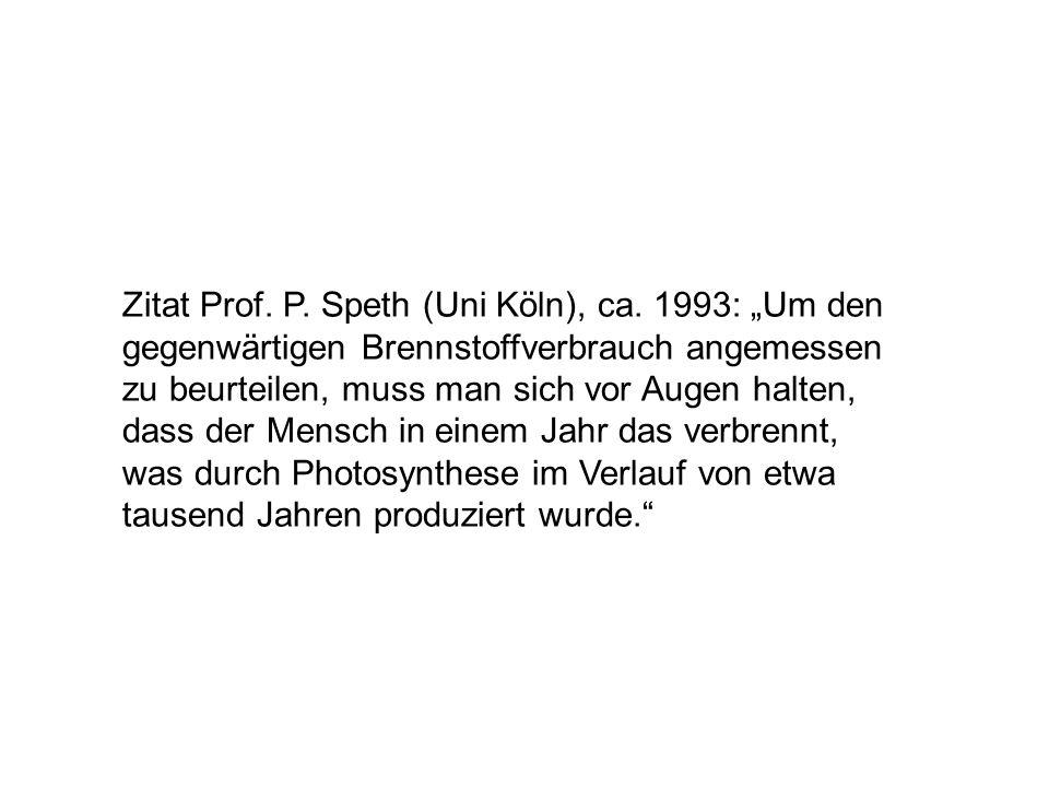 """Zitat Prof. P. Speth (Uni Köln), ca. 1993: """"Um den gegenwärtigen Brennstoffverbrauch angemessen zu beurteilen, muss man sich vor Augen halten, dass de"""