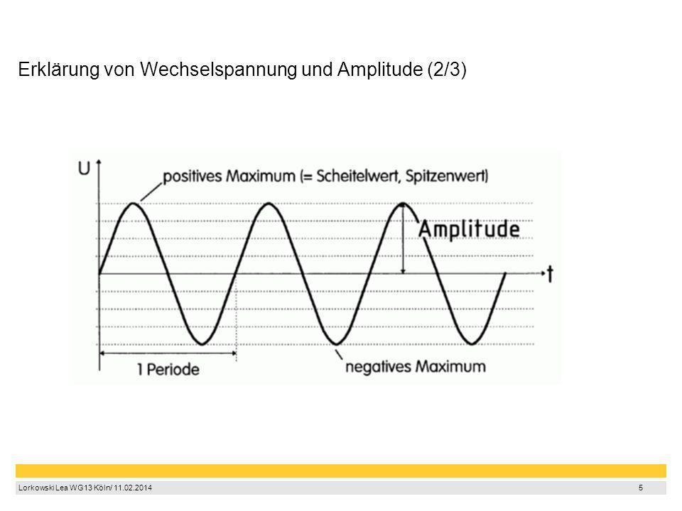 5 Lorkowski Lea WG13 Köln/ 11.02.2014 5 Erklärung von Wechselspannung und Amplitude (2/3)