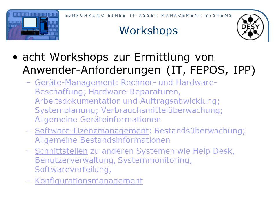 E I N F Ü H R U N G E I N E S I T A S S E T M A N A G E M E N T S Y S T E M S Workshops acht Workshops zur Ermittlung von Anwender-Anforderungen (IT,