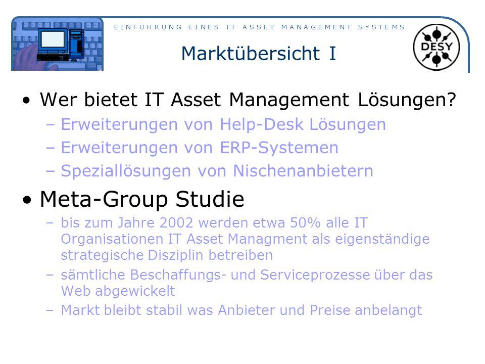 E I N F Ü H R U N G E I N E S I T A S S E T M A N A G E M E N T S Y S T E M S Marktübersicht I Wer bietet IT Asset Management Lösungen.