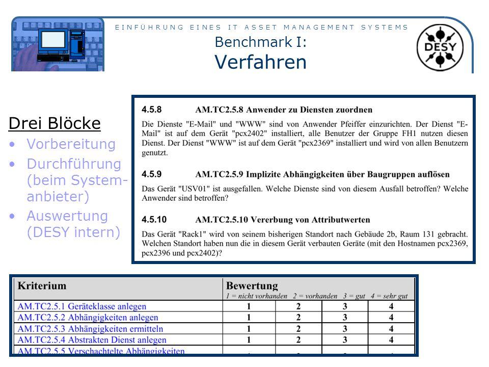 E I N F Ü H R U N G E I N E S I T A S S E T M A N A G E M E N T S Y S T E M S Benchmark I: Verfahren Drei Blöcke Vorbereitung Durchführung (beim System- anbieter) Auswertung (DESY intern)
