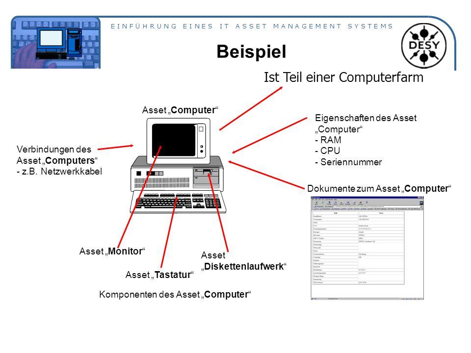"""E I N F Ü H R U N G E I N E S I T A S S E T M A N A G E M E N T S Y S T E M S Beispiel Komponenten des Asset """"Computer Asset """"Monitor Asset """"Diskettenlaufwerk Asset """"Tastatur Eigenschaften des Asset """"Computer - RAM - CPU - Seriennummer Dokumente zum Asset """"Computer Verbindungen des Asset """"Computers - z.B."""