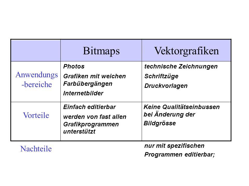 VektorgrafikenBitmaps Anwendungs -bereiche Photos Grafiken mit weichen Farbübergängen Internetbilder technische Zeichnungen Schriftzüge Druckvorlagen