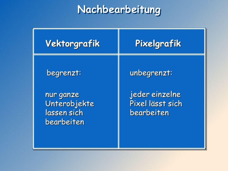 Nachbearbeitung Vektorgrafik Pixelgrafik begrenzt: begrenzt: nur ganze Unterobjekte lassen sich bearbeiten nur ganze Unterobjekte lassen sich bearbeit