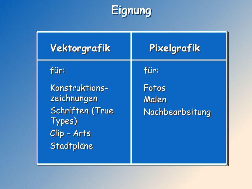Eignung Vektorgrafik Pixelgrafik Konstruktions- zeichnungen Konstruktions- zeichnungen Schriften (True Types) Schriften (True Types) Fotos Fotos Nachb