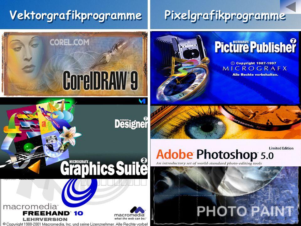 Vektorgrafikprogramme Pixelgrafikprogramme