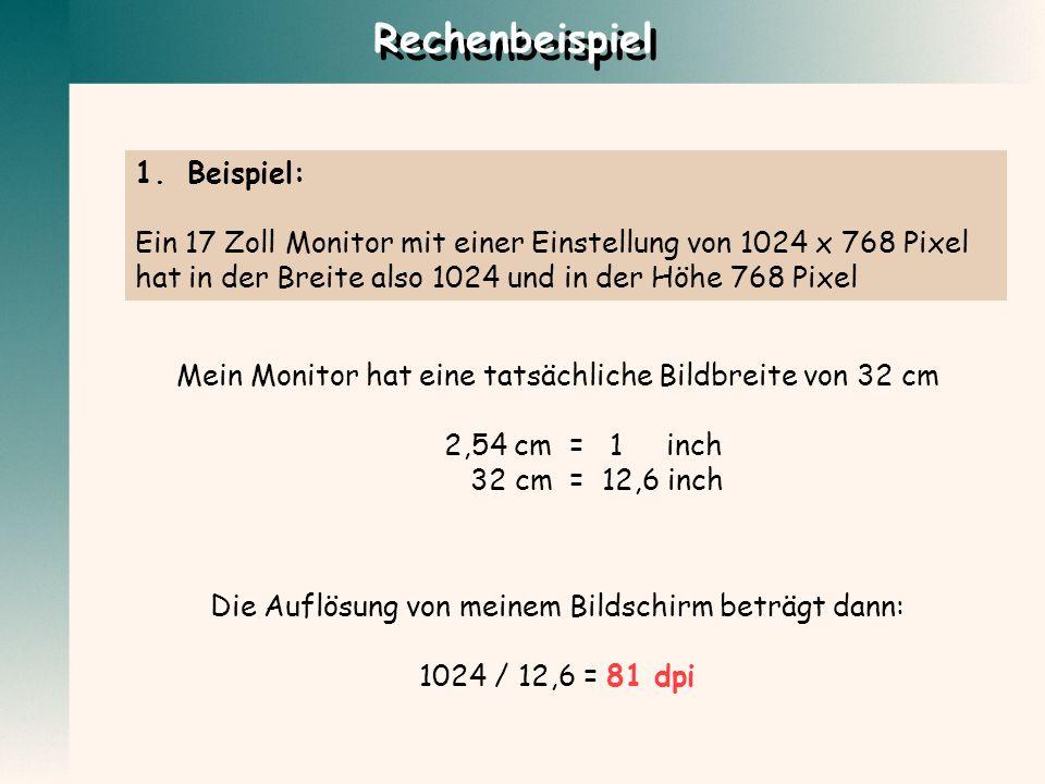 1.Beispiel: Ein 17 Zoll Monitor mit einer Einstellung von 1024 x 768 Pixel hat in der Breite also 1024 und in der Höhe 768 Pixel Mein Monitor hat eine