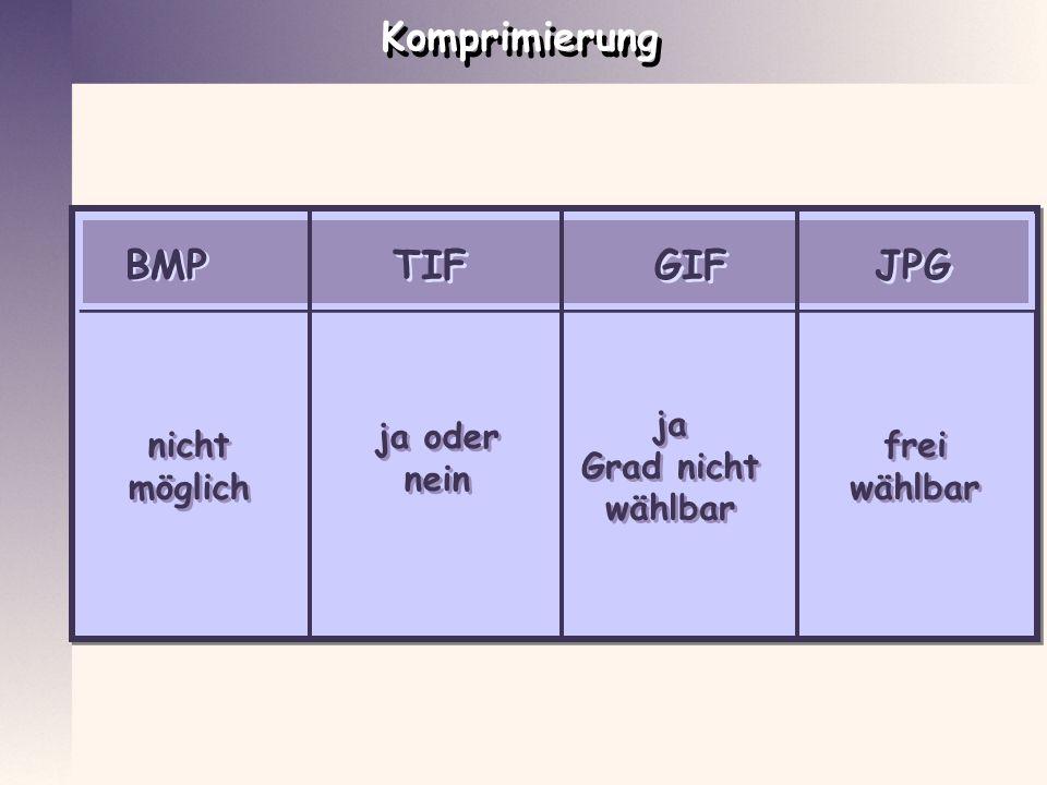 Komprimierung BMP GIF JPG TIF nicht möglich nicht möglich ja oder nein ja oder nein ja Grad nicht wählbar ja Grad nicht wählbar frei wählbar frei wähl