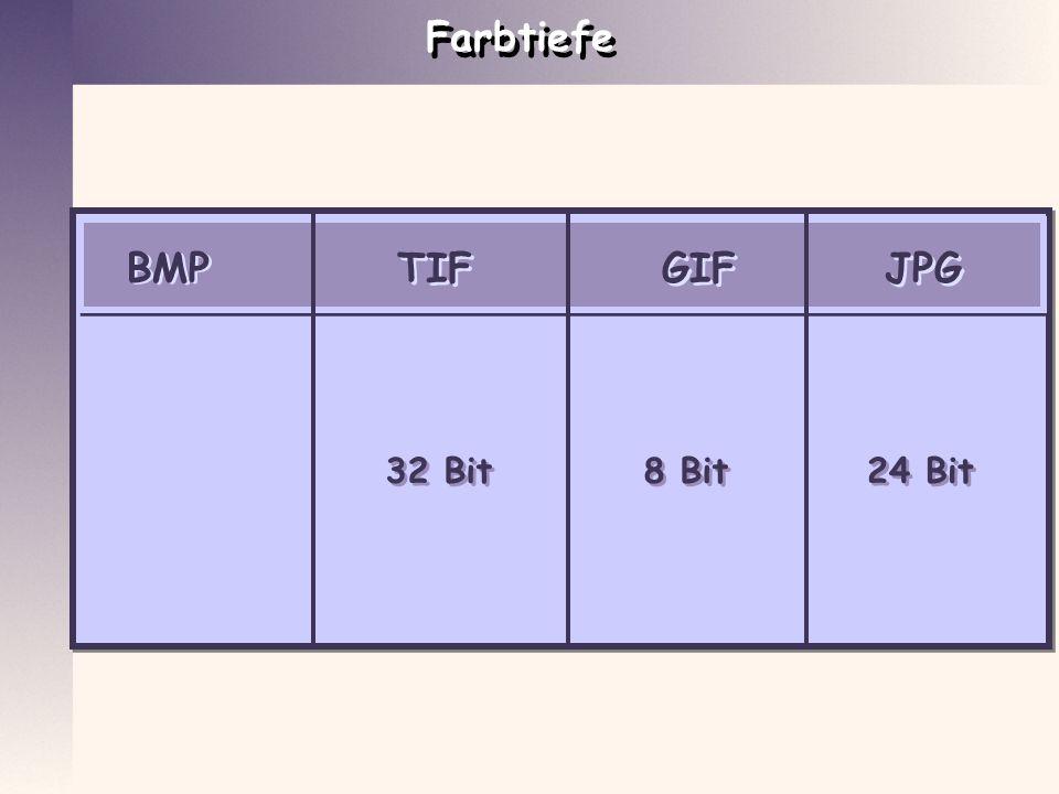 Farbtiefe BMP GIF JPG TIF 32 Bit 32 Bit 8 Bit 8 Bit 24 Bit 24 Bit