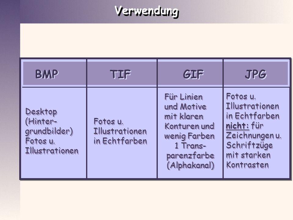 Verwendung BMP GIF JPG TIF Für Linien und Motive mit klaren Konturen und wenig Farben 1 Trans- parenzfarbe (Alphakanal) Für Linien und Motive mit klar