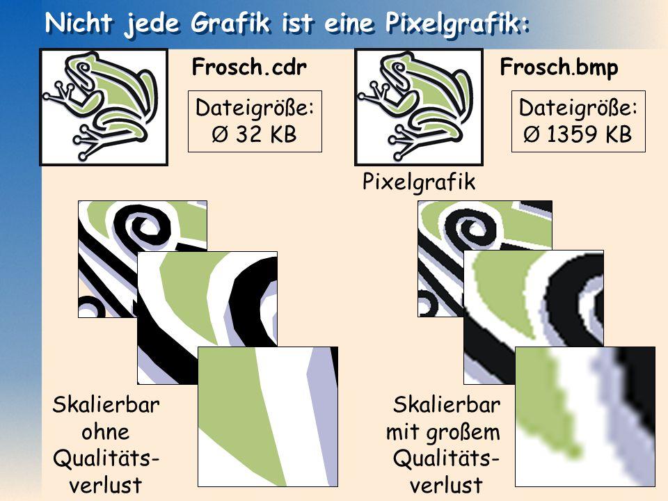 Dateigröße: Ø 1359 KB Dateigröße: Ø 32 KB Skalierbar ohne Qualitäts- verlust Skalierbar mit großem Qualitäts- verlust Nicht jede Grafik ist eine Pixel
