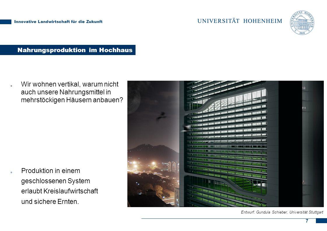 7 Nahrungsproduktion im Hochhaus Innovative Landwirtschaft für die Zukunft Entwurf: Gundula Schieber, Universität Stuttgart o Produktion in einem gesc
