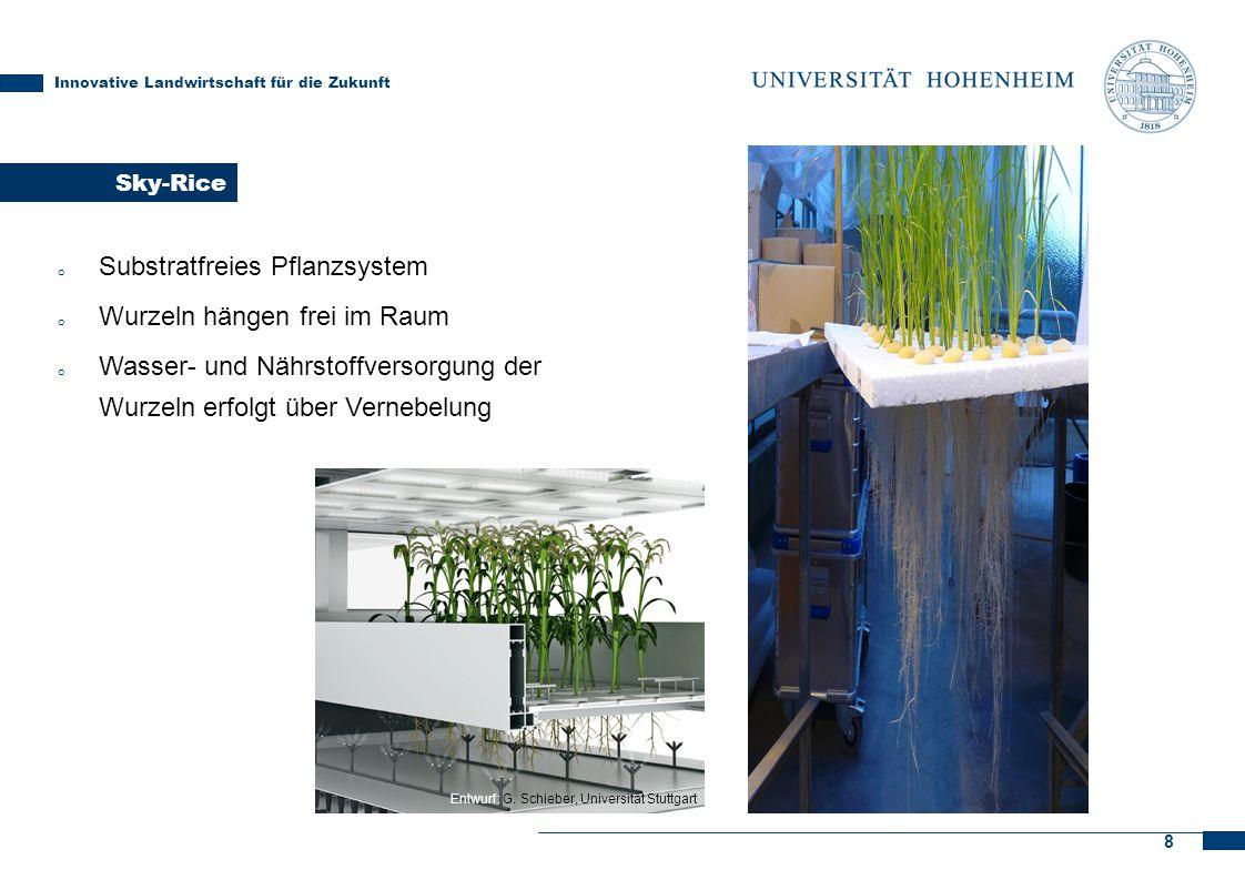 8 Sky-Rice Innovative Landwirtschaft für die Zukunft o Substratfreies Pflanzsystem o Wurzeln hängen frei im Raum o Wasser- und Nährstoffversorgung der