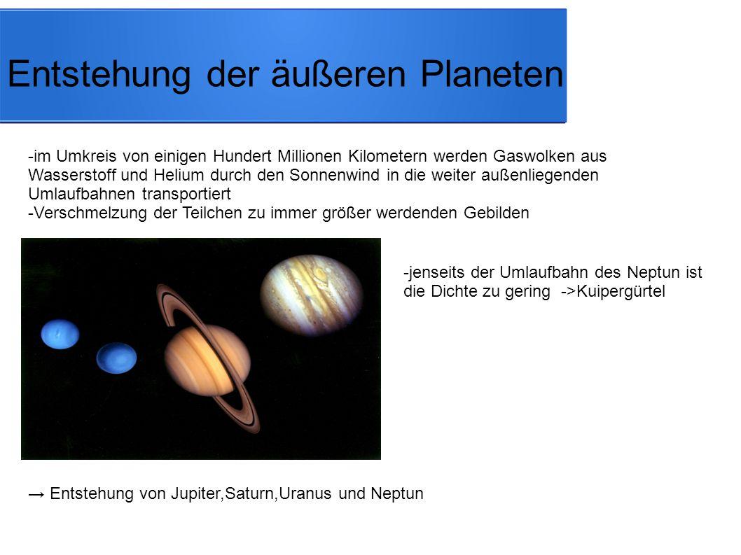 Entstehung der inneren Planeten -schwerere Teilchen halten dem Sonnenwind stand und schweben im näheren Umkreis der Sonne ->Bildung von: Mars Erde Venus Merkur -zwischen Mars und Jupiter können sich aufgrund der Gravitationskräfte keine Planeten bilden → Asteroidengürtel