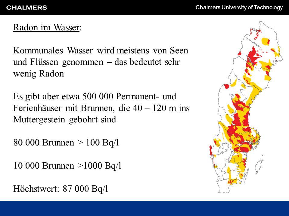 Chalmers University of Technology Radon im Wasser: Kommunales Wasser wird meistens von Seen und Flüssen genommen – das bedeutet sehr wenig Radon Es gibt aber etwa 500 000 Permanent- und Ferienhäuser mit Brunnen, die 40 – 120 m ins Muttergestein gebohrt sind 80 000 Brunnen > 100 Bq/l 10 000 Brunnen >1000 Bq/l Höchstwert: 87 000 Bq/l