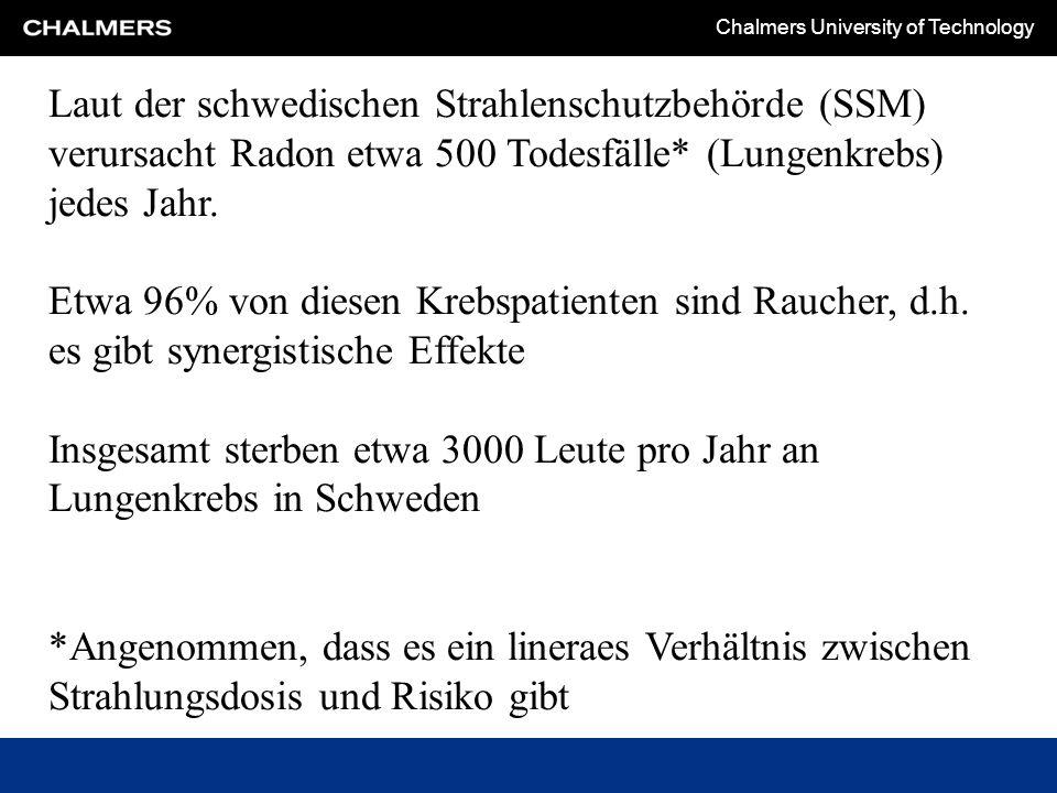 Chalmers University of Technology Laut der schwedischen Strahlenschutzbehörde (SSM) verursacht Radon etwa 500 Todesfälle* (Lungenkrebs) jedes Jahr.