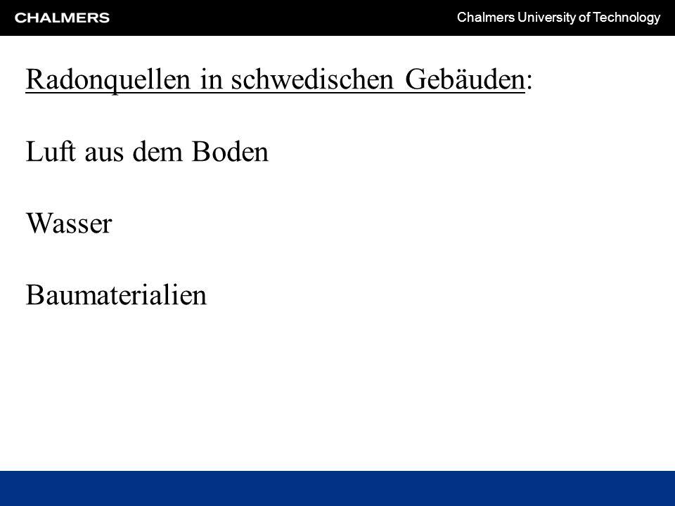 Chalmers University of Technology Erst die Radongrenzwerte in Schweden (2012): Luft: In alten und neuen Wohnungen: 200 Bq/m 3 Bei Arbeitsplätzen: 400 Bq/m 3 Gammastrahlung: Maximal 0.3 μSv/h in neuen Gebäuden Wasser: <100 Bq/m 3 : Gut 100 – 1000 Bq/m 3 : Benutzbar mit Restriktionen >1000 Bq/m 3 : Nicht benutzbar