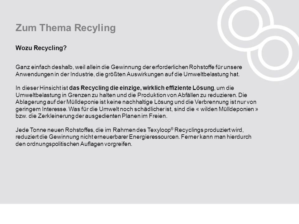 Zum Thema Recyling Wozu Recycling? Ganz einfach deshalb, weil allein die Gewinnung der erforderlichen Rohstoffe für unsere Anwendungen in der Industri