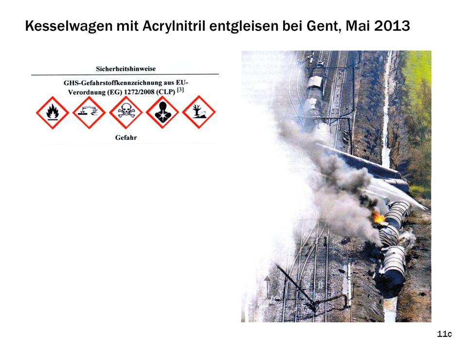 11c Kesselwagen mit Acrylnitril entgleisen bei Gent, Mai 2013