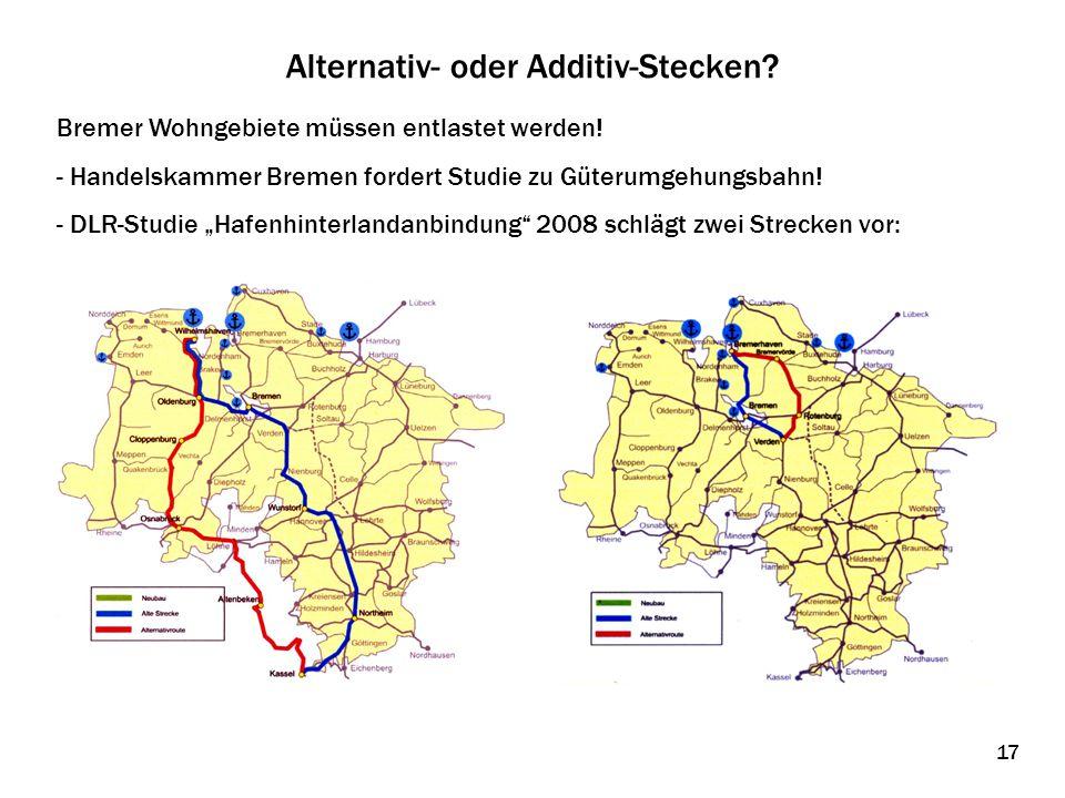 Alternativ- oder Additiv-Stecken? Bremer Wohngebiete müssen entlastet werden! - Handelskammer Bremen fordert Studie zu Güterumgehungsbahn! - DLR-Studi