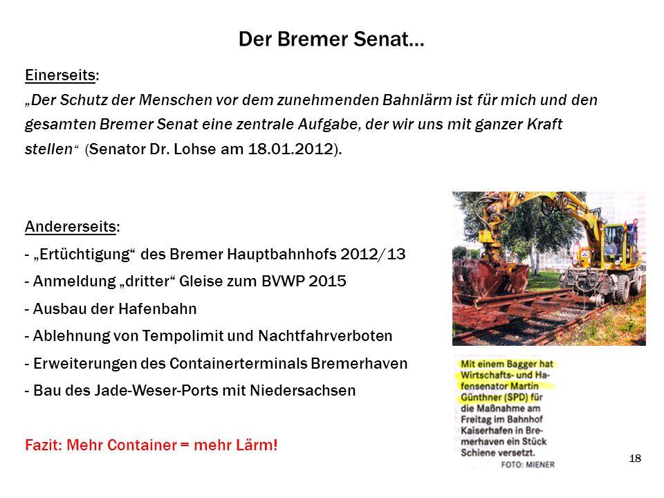 """Der Bremer Senat… Einerseits: """"Der Schutz der Menschen vor dem zunehmenden Bahnlärm ist für mich und den gesamten Bremer Senat eine zentrale Aufgabe,"""