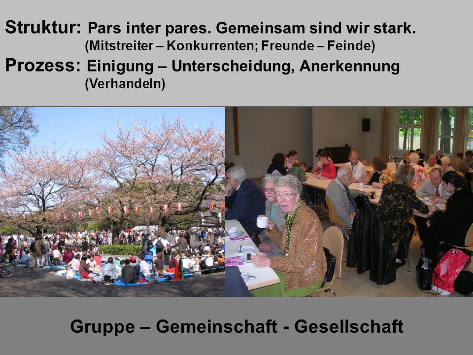 Gruppe – Gemeinschaft - Gesellschaft Lernsituation 4 Struktur: Pars inter pares. Gemeinsam sind wir stark. (Mitstreiter – Konkurrenten; Freunde – Fein