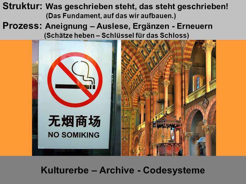 Kulturerbe – Archive - Codesysteme Lernsituation 5 Struktur: Was geschrieben steht, das steht geschrieben! (Das Fundament, auf das wir aufbauen.) Proz