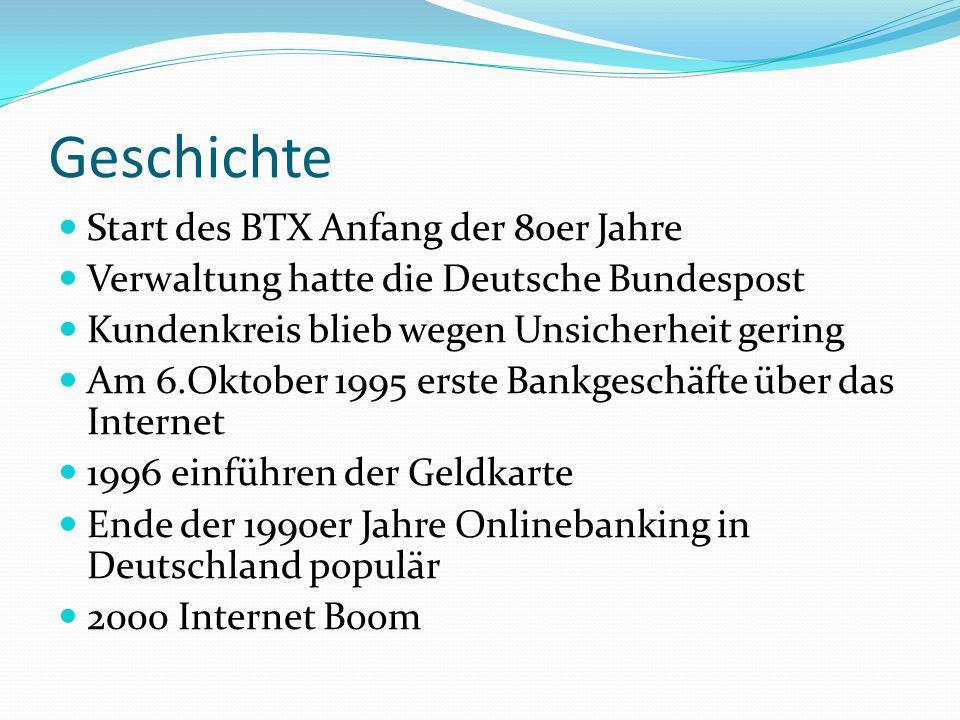 Geschichte Start des BTX Anfang der 80er Jahre Verwaltung hatte die Deutsche Bundespost Kundenkreis blieb wegen Unsicherheit gering Am 6.Oktober 1995 erste Bankgeschäfte über das Internet 1996 einführen der Geldkarte Ende der 1990er Jahre Onlinebanking in Deutschland populär 2000 Internet Boom