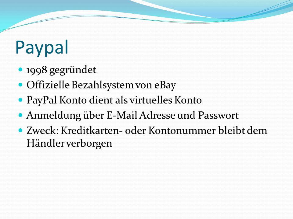 Paypal 1998 gegründet Offizielle Bezahlsystem von eBay PayPal Konto dient als virtuelles Konto Anmeldung über E-Mail Adresse und Passwort Zweck: Kreditkarten- oder Kontonummer bleibt dem Händler verborgen