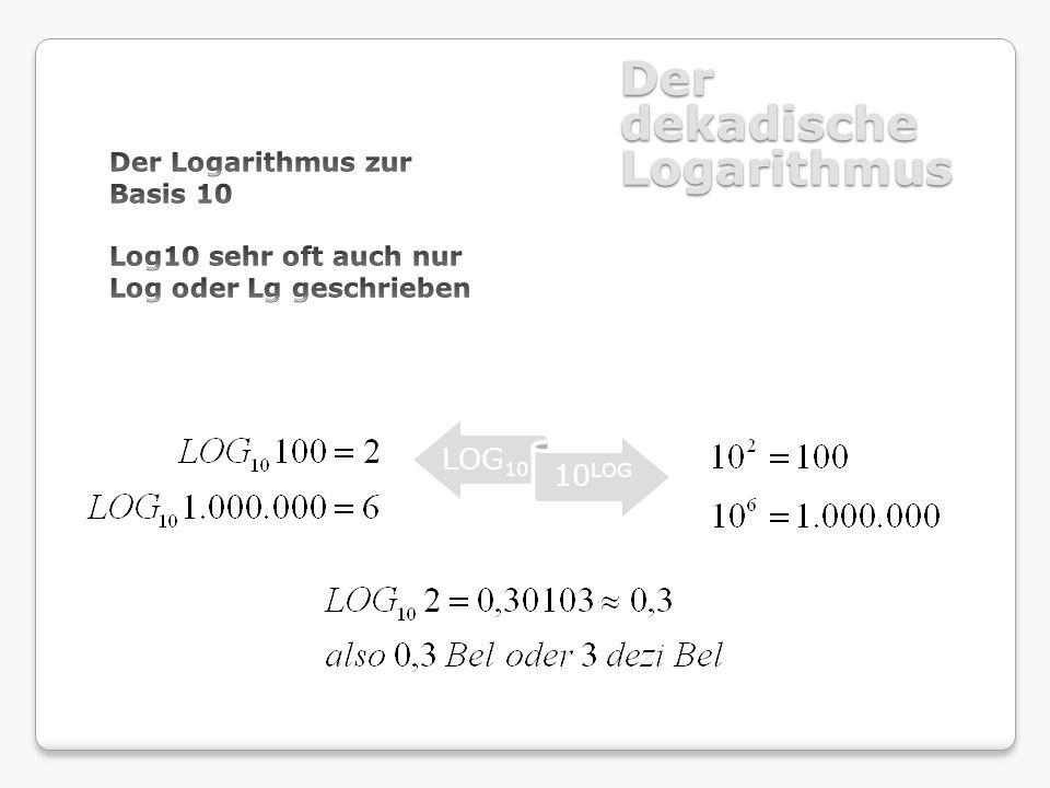 Der dekadische Logarithmus LOG1 0 10 LOG