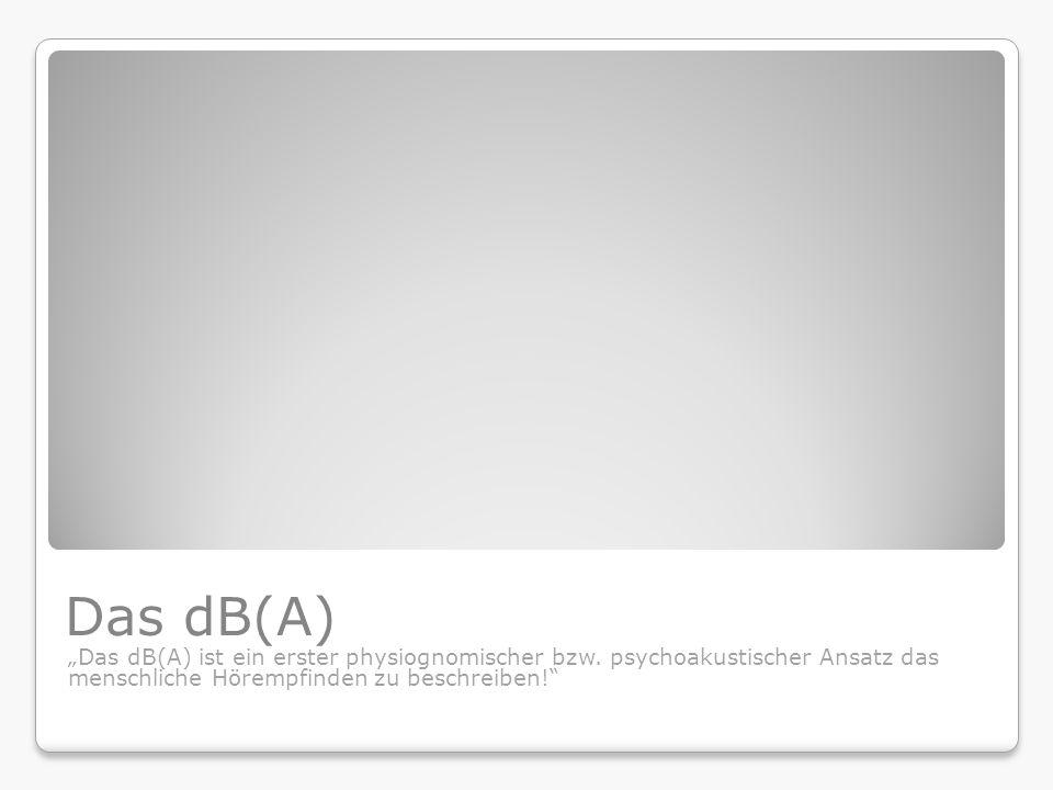 """Das dB(A) """"Das dB(A) ist ein erster physiognomischer bzw. psychoakustischer Ansatz das menschliche Hörempfinden zu beschreiben!"""""""
