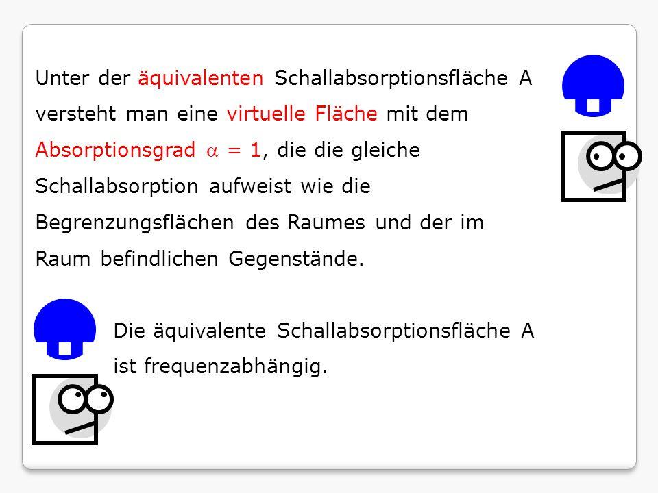Unter der äquivalenten Schallabsorptionsfläche A versteht man eine virtuelle Fläche mit dem Absorptionsgrad  = 1, die die gleiche Schallabsorption au
