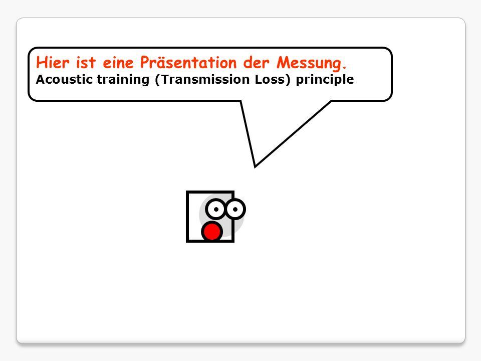 Hier ist eine Präsentation der Messung. Acoustic training (Transmission Loss) principle