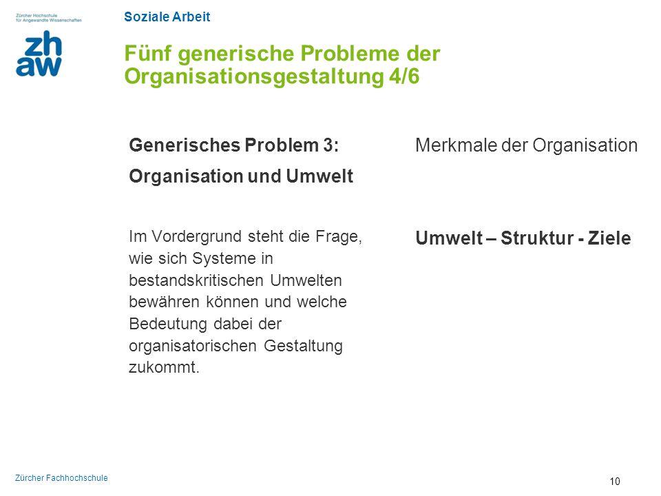 Soziale Arbeit Zürcher Fachhochschule Fünf generische Probleme der Organisationsgestaltung 4/6 Generisches Problem 3: Organisation und Umwelt Im Vorde