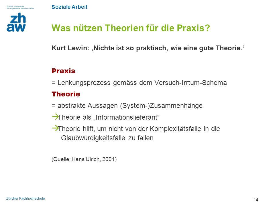 Soziale Arbeit Zürcher Fachhochschule Was nützen Theorien für die Praxis? Kurt Lewin: 'Nichts ist so praktisch, wie eine gute Theorie.' Praxis = Lenku