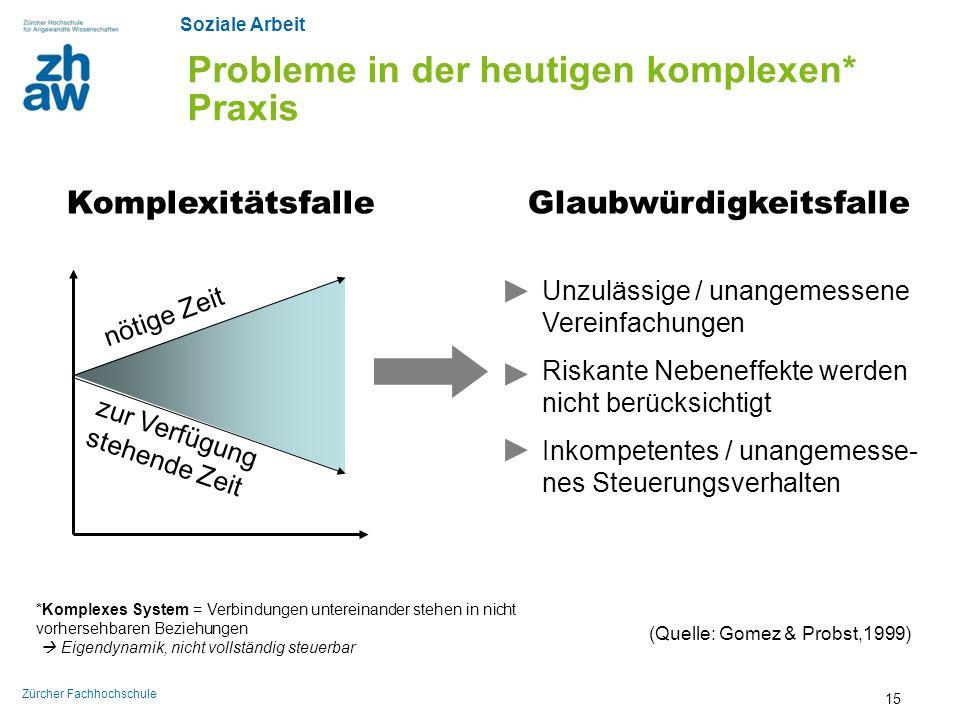 Soziale Arbeit Zürcher Fachhochschule Probleme in der heutigen komplexen* Praxis KomplexitätsfalleGlaubwürdigkeitsfalle Unzulässige / unangemessene Ve