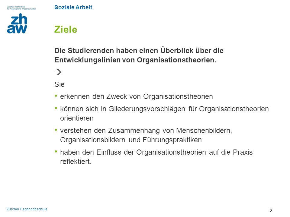 Soziale Arbeit Zürcher Fachhochschule Klassische Ansätze Perspektive auf die Organisation: Ratio Bildquelle: wikicommons 33