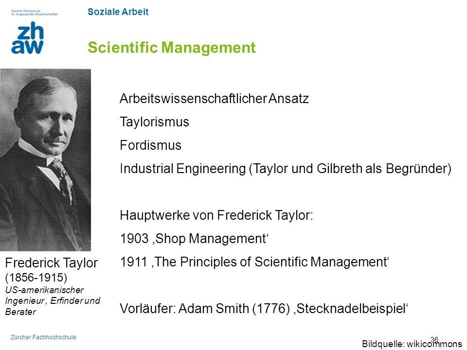 Soziale Arbeit Zürcher Fachhochschule Scientific Management Frederick Taylor (1856-1915) US-amerikanischer Ingenieur, Erfinder und Berater Arbeitswiss