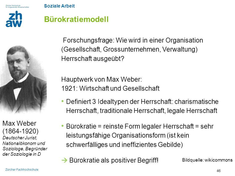 Soziale Arbeit Zürcher Fachhochschule Bürokratiemodell Max Weber (1864-1920) Deutscher Jurist, Nationalökonom und Soziologe, Begründer der Soziologie