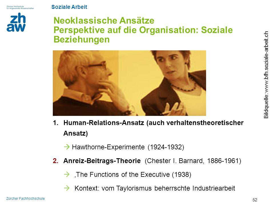Soziale Arbeit Zürcher Fachhochschule Neoklassische Ansätze Perspektive auf die Organisation: Soziale Beziehungen Bildquelle: www.bfh.soziale-arbeit.c