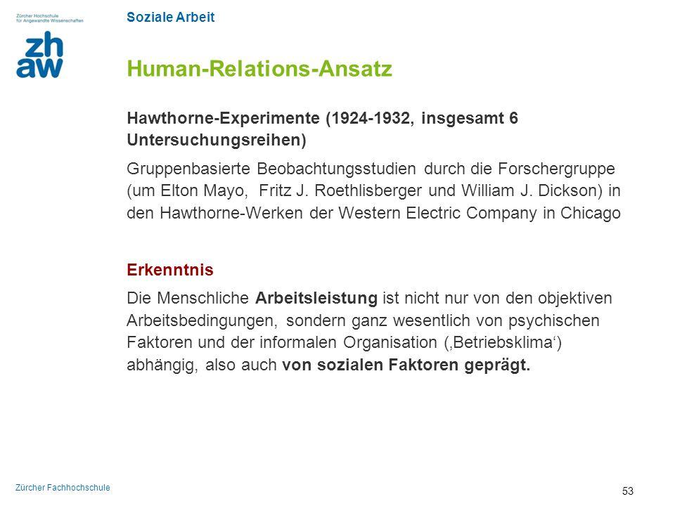 Soziale Arbeit Zürcher Fachhochschule Human-Relations-Ansatz Hawthorne-Experimente (1924-1932, insgesamt 6 Untersuchungsreihen) Gruppenbasierte Beobac