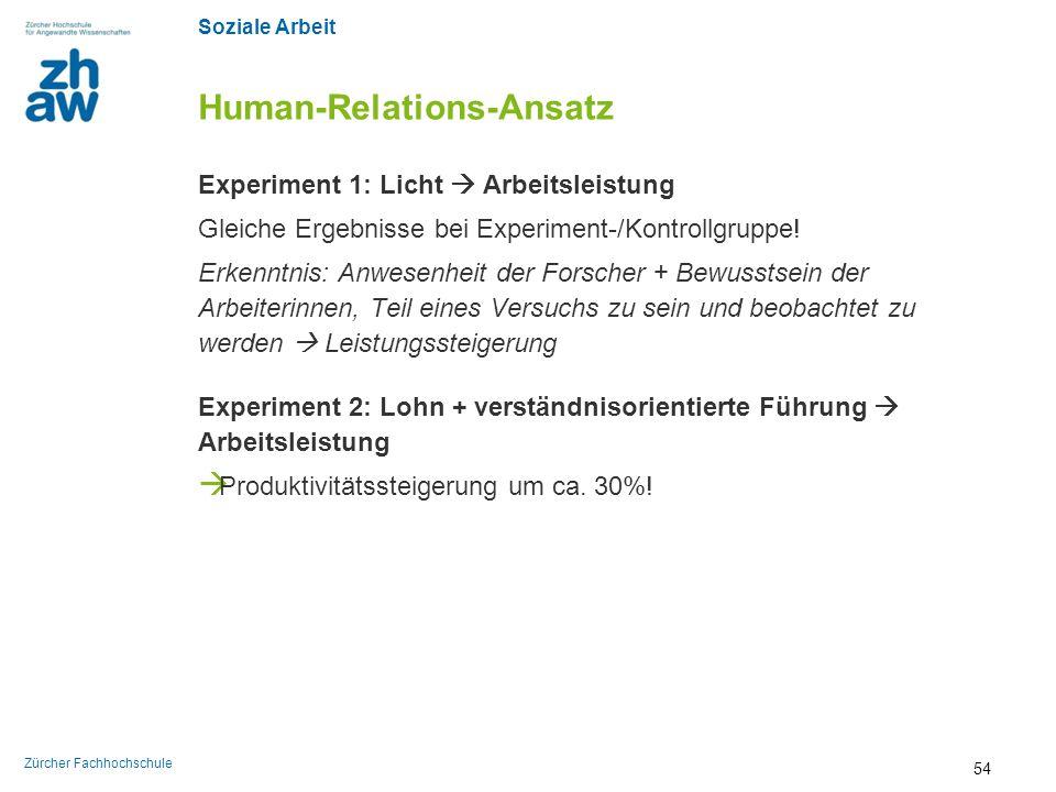 Soziale Arbeit Zürcher Fachhochschule Human-Relations-Ansatz Experiment 1: Licht  Arbeitsleistung Gleiche Ergebnisse bei Experiment-/Kontrollgruppe!