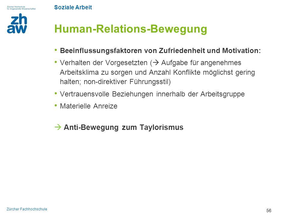 Soziale Arbeit Zürcher Fachhochschule Human-Relations-Bewegung Beeinflussungsfaktoren von Zufriedenheit und Motivation: Verhalten der Vorgesetzten ( 