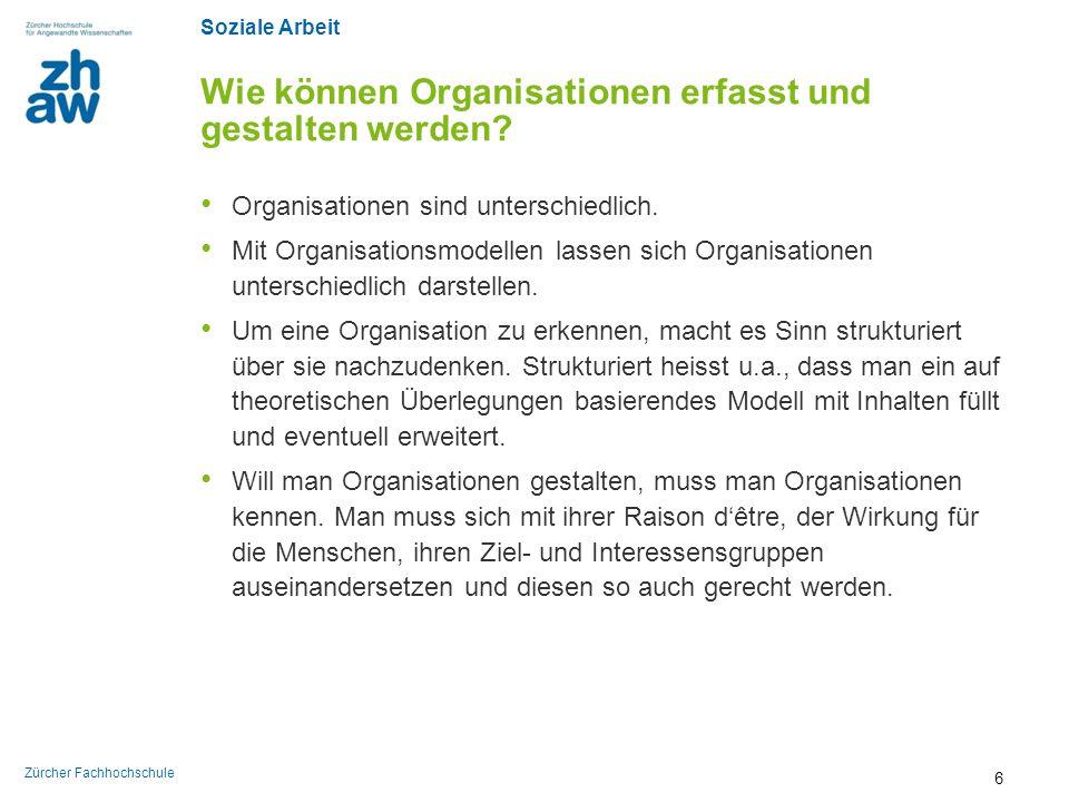 Soziale Arbeit Zürcher Fachhochschule Fünf generische Probleme der Organisationsgestaltung 1/6 Organisationsgestaltung ist aus heutiger Sicht ein mehrdimensionales Problem.