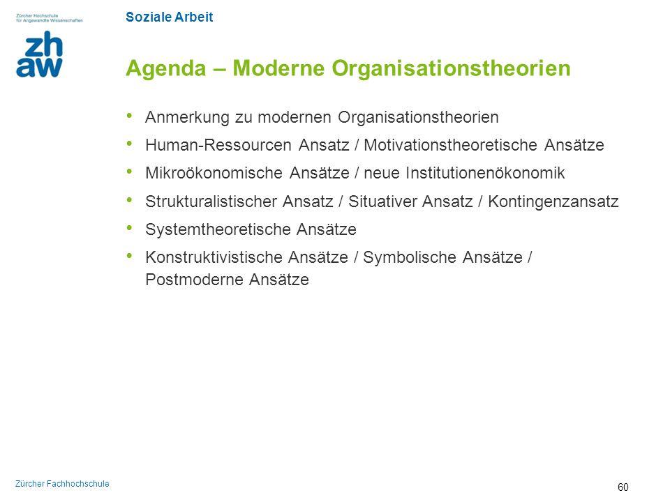 Soziale Arbeit Zürcher Fachhochschule Agenda – Moderne Organisationstheorien Anmerkung zu modernen Organisationstheorien Human-Ressourcen Ansatz / Mot