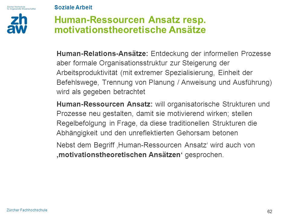 Soziale Arbeit Zürcher Fachhochschule Human-Ressourcen Ansatz resp. motivationstheoretische Ansätze Human-Relations-Ansätze: Entdeckung der informelle