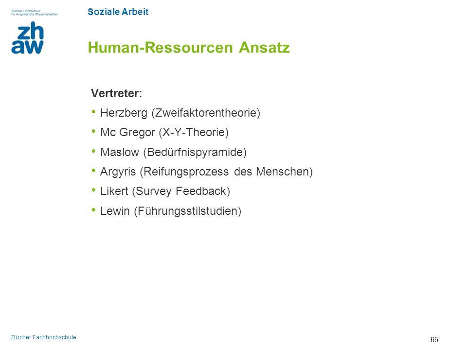 Soziale Arbeit Zürcher Fachhochschule Human-Ressourcen Ansatz Vertreter: Herzberg (Zweifaktorentheorie) Mc Gregor (X-Y-Theorie) Maslow (Bedürfnispyram