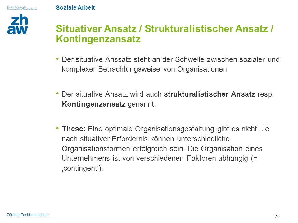 Soziale Arbeit Zürcher Fachhochschule Situativer Ansatz / Strukturalistischer Ansatz / Kontingenzansatz Der situative Anssatz steht an der Schwelle zw